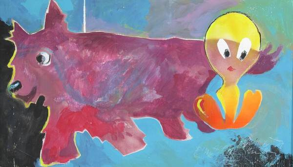 Painting - Red Dog And Tweetie by Linda Novick