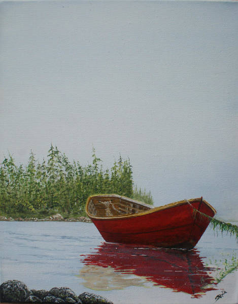 Wall Art - Painting - Red Dory by Stephen Reid