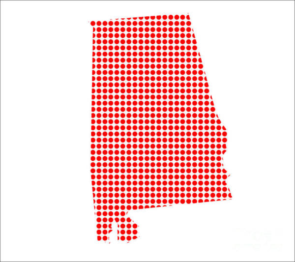 Perforations Digital Art - Red Dot Map Of Alabama by Bigalbaloo Stock