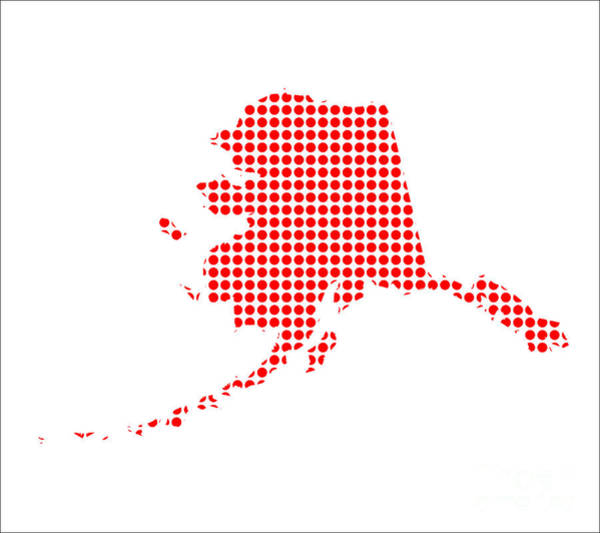 Perforations Digital Art - Red Dot Map Of Alaska by Bigalbaloo Stock