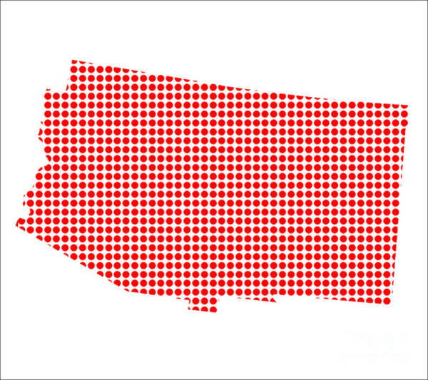 Perforations Digital Art - Red Dot Map Of Arizona by Bigalbaloo Stock