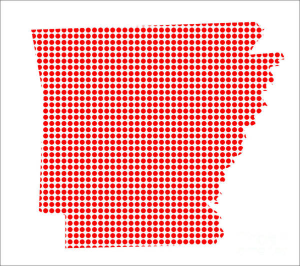 Perforations Digital Art - Red Dot Map Of Arkansas by Bigalbaloo Stock