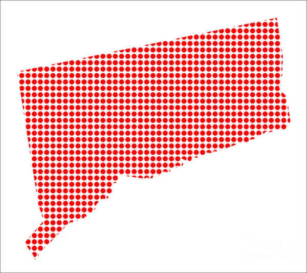 Perforations Digital Art - Red Dot Map Of Connecticut by Bigalbaloo Stock