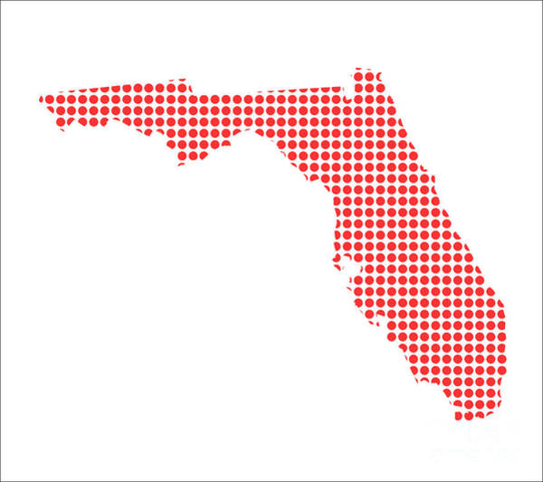 Perforations Digital Art - Red Dot Map Of Florida by Bigalbaloo Stock