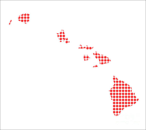 Perforations Digital Art - Red Dot Map Of Hawaii by Bigalbaloo Stock