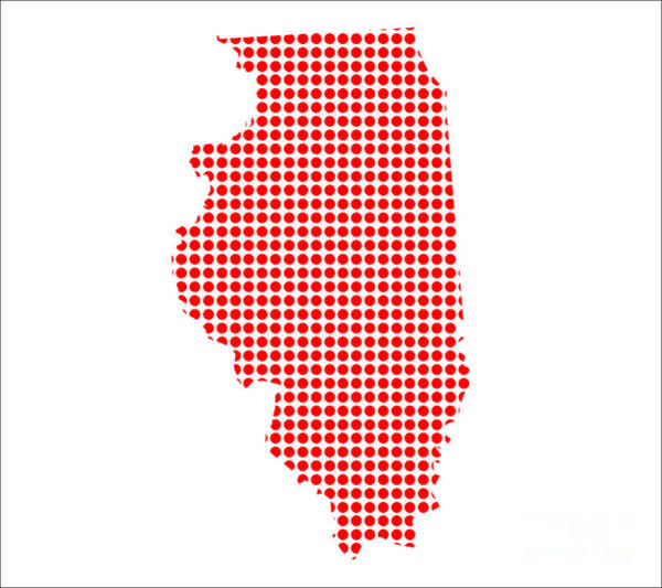 Perforations Digital Art - Red Dot Map Of Illinois by Bigalbaloo Stock