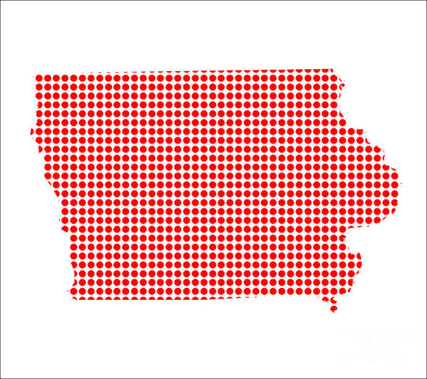 Perforations Digital Art - Red Dot Map Of Iowa by Bigalbaloo Stock