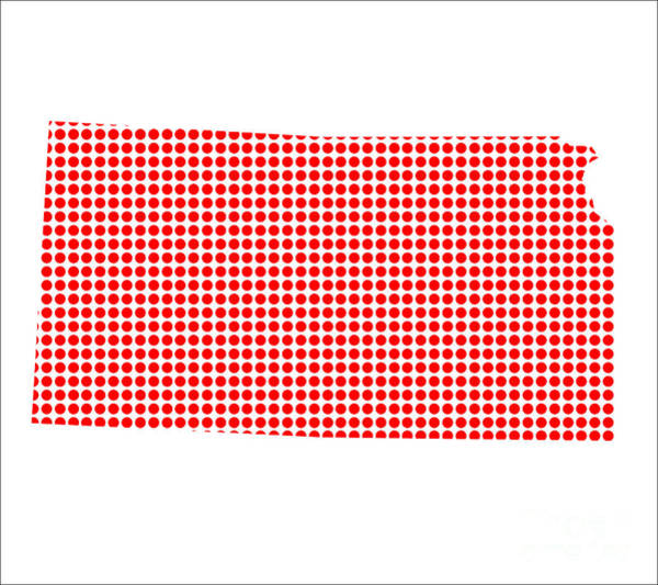 Perforations Digital Art - Red Dot Map Of Kansas by Bigalbaloo Stock