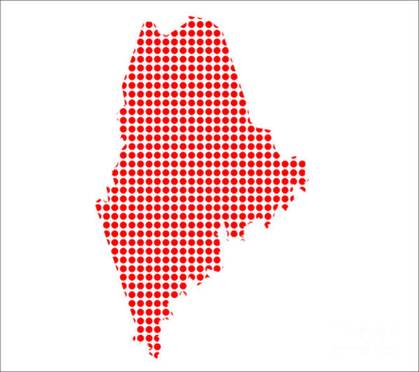 Perforations Digital Art - Red Dot Map Of Maine by Bigalbaloo Stock