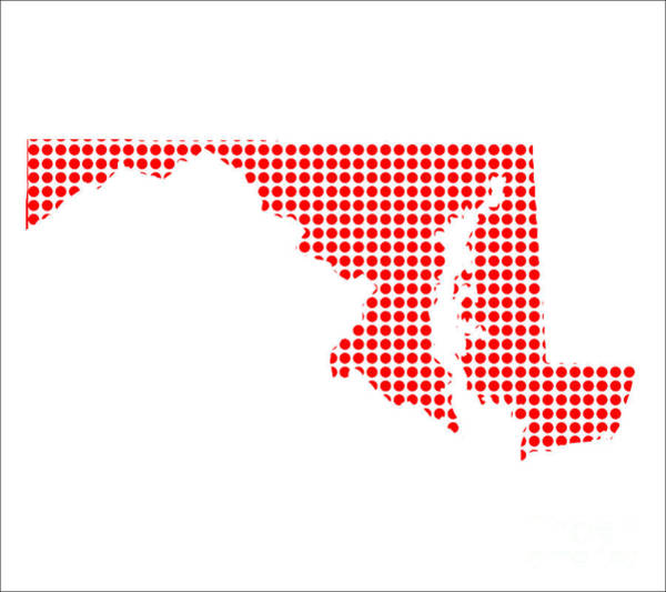Perforations Digital Art - Red Dot Map Of Maryland by Bigalbaloo Stock