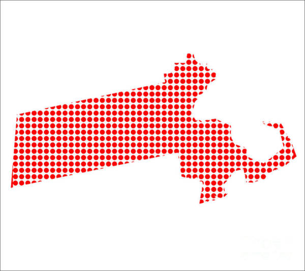 Perforations Digital Art - Red Dot Map Of Massachusetts by Bigalbaloo Stock