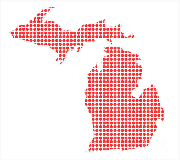 Perforations Digital Art - Red Dot Map Of Michigan by Bigalbaloo Stock