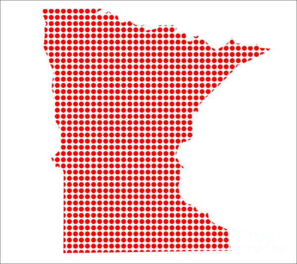 Perforations Digital Art - Red Dot Map Of Minnesota by Bigalbaloo Stock