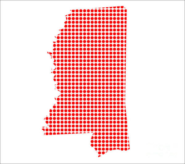 Perforations Digital Art - Red Dot Map Of Mississippi by Bigalbaloo Stock