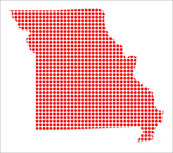 Perforations Digital Art - Red Dot Map Of Missouri by Bigalbaloo Stock