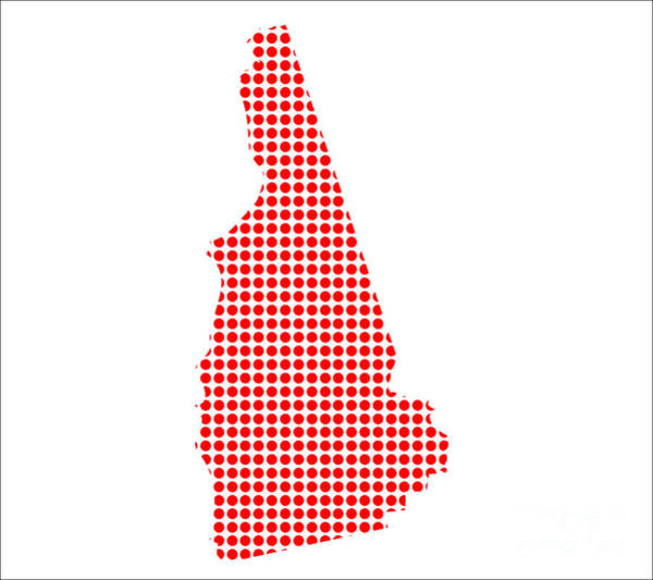 Perforations Digital Art - Red Dot Map Of New Hampshire by Bigalbaloo Stock
