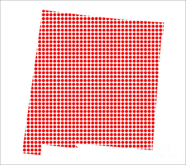 Perforations Digital Art - Red Dot Map Of New Mexico by Bigalbaloo Stock