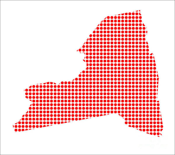 Perforations Digital Art - Red Dot Map Of New York State by Bigalbaloo Stock