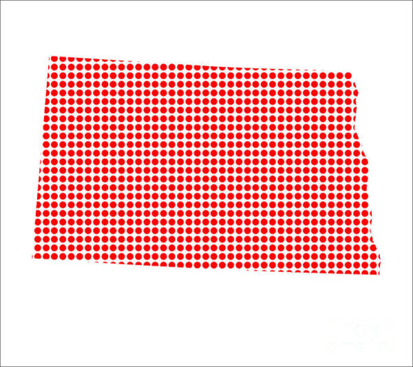 Perforations Digital Art - Red Dot Map Of North Dakota by Bigalbaloo Stock