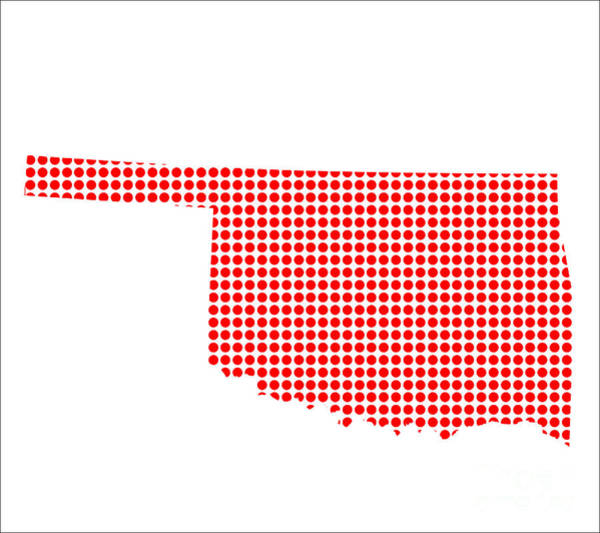Perforations Digital Art - Red Dot Map Of Oklahoma by Bigalbaloo Stock
