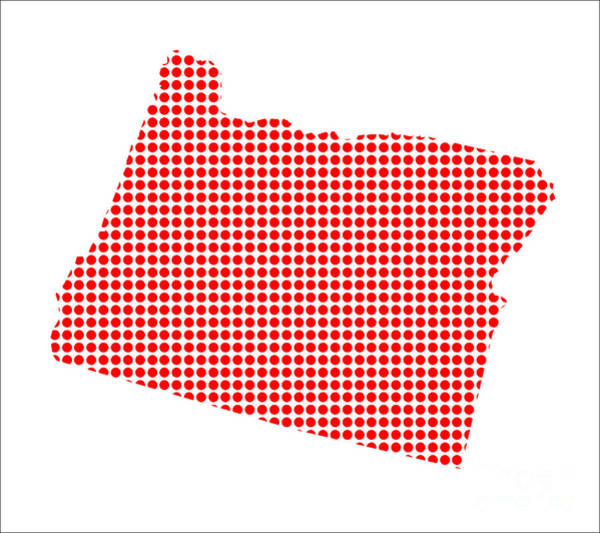 Perforations Digital Art - Red Dot Map Of Oregon by Bigalbaloo Stock