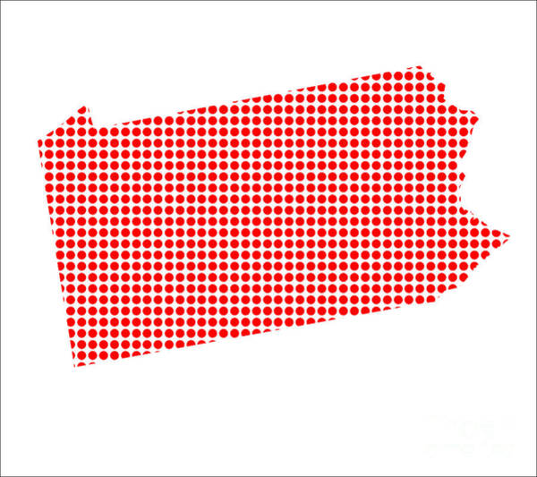 Perforations Digital Art - Red Dot Map Of Pennsylvania by Bigalbaloo Stock