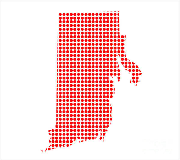 Perforations Digital Art - Red Dot Map Of Rhode Island by Bigalbaloo Stock