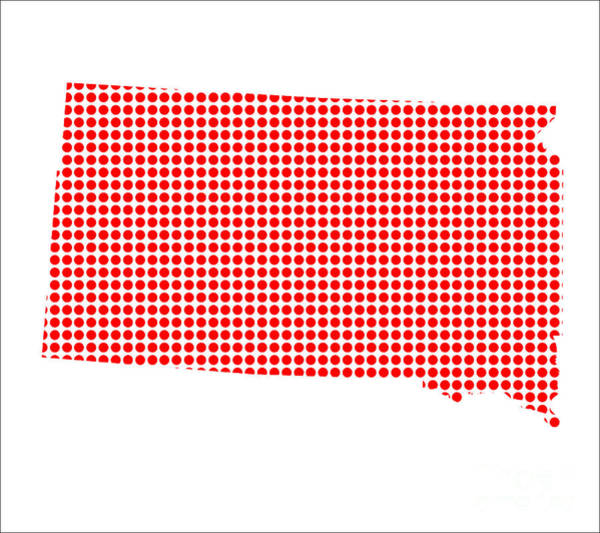 Perforations Digital Art - Red Dot Map Of South Dakota by Bigalbaloo Stock