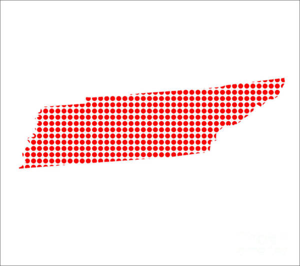 Perforations Digital Art - Red Dot Map Of Tennessee by Bigalbaloo Stock