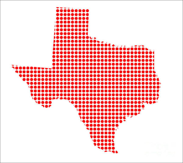 Perforations Digital Art - Red Dot Map Of Texas by Bigalbaloo Stock