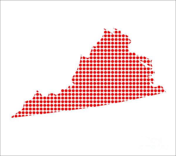 Perforations Digital Art - Red Dot Map Of Virginia by Bigalbaloo Stock