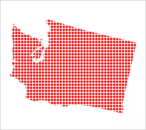 Perforations Digital Art - Red Dot Map Of Washington by Bigalbaloo Stock