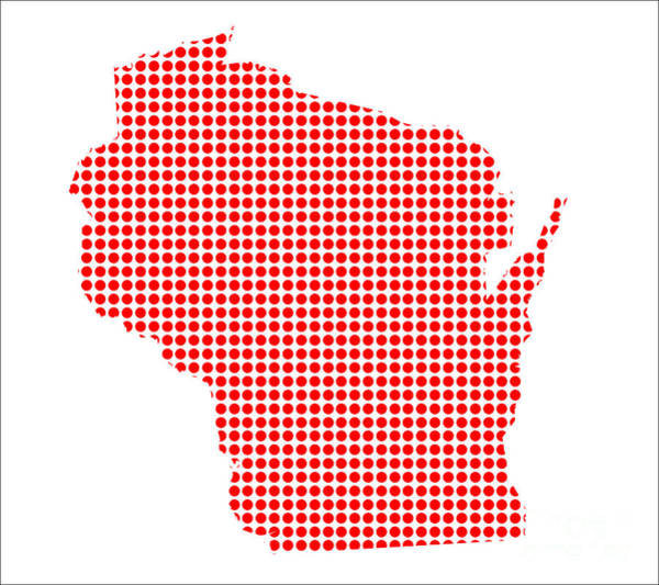 Perforations Digital Art - Red Dot Map Of Wisconsin by Bigalbaloo Stock