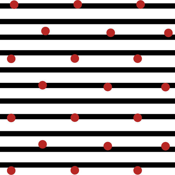 Dot Mixed Media - Red Dots On Stripes by Sd Graphics Studio