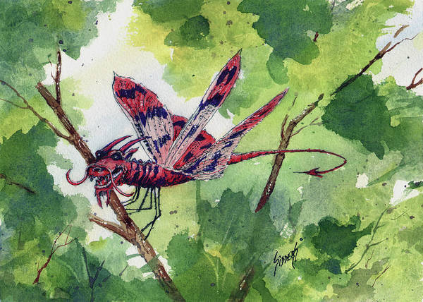 Painting - Red Dragonfly by Sam Sidders
