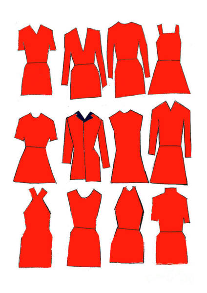 Clothing Design Mixed Media - Red Dresses by Daisy De Villeneuve