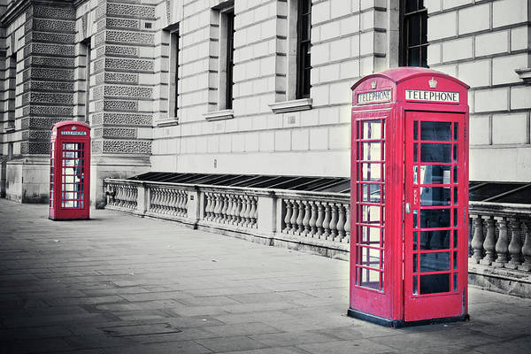 Capital Cities Photograph - Red English Phone Booths In Black And by Zodebala