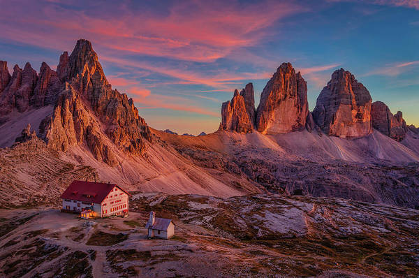 Photograph - Red Evening On Tre Cime Di Lavaredo by Dmytro Korol