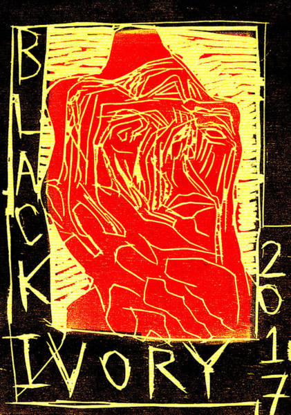 Digital Art - Red Face Black Ivory Woodcut Poster 28 by Artist Dot