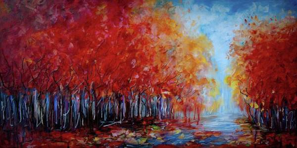 Painting - Red Fall Forest By Olena Art  by OLena Art - Lena Owens