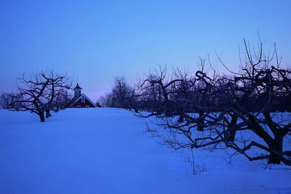 Wall Art - Photograph - Red Farmhouse Winter  Sunset by Joann Vitali