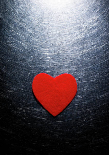 Romance Photograph - Red Felt Heart On Stainless Steel by Ballyscanlon