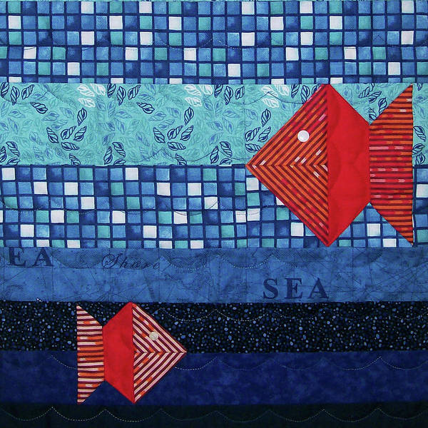 Tapestry - Textile - Red Fish by Pam Geisel