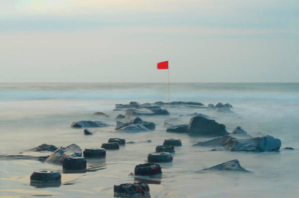Wall Art - Photograph - Red Flag On A Jetti - Stone Harbor New Jersey by Bill Cannon