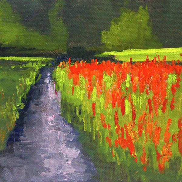 Wall Art - Painting - Red Flower Field by Nancy Merkle