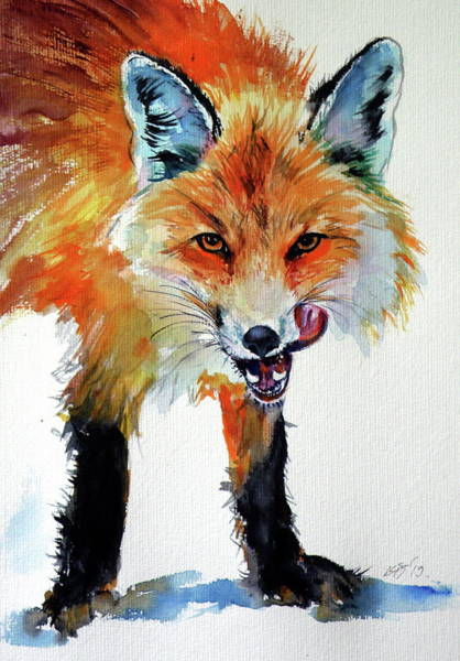 Wall Art - Painting - Red Fox Hunter by Kovacs Anna Brigitta