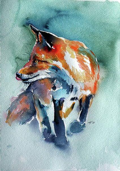 Wall Art - Painting - Red Fox In Field II by Kovacs Anna Brigitta