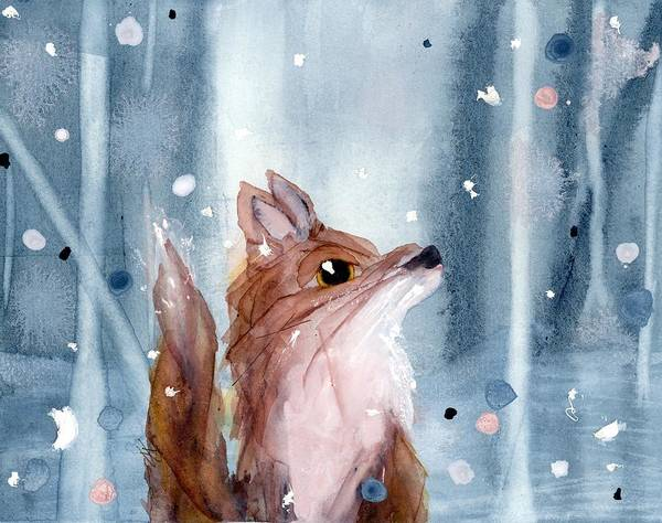 Painting - Red Fox In The Snow by Dawn Derman