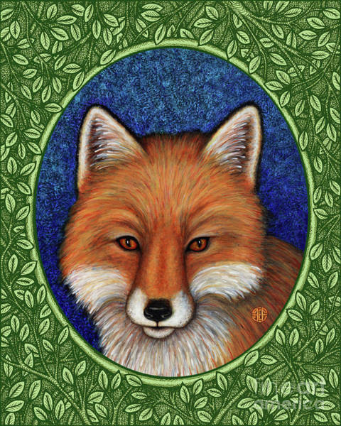 Painting - Red Fox Portrait - Green Border by Amy E Fraser
