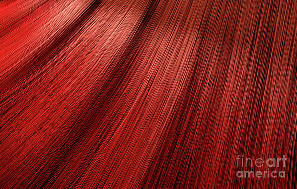 Wall Art - Digital Art - Red Hair Blowing Closeup by Allan Swart